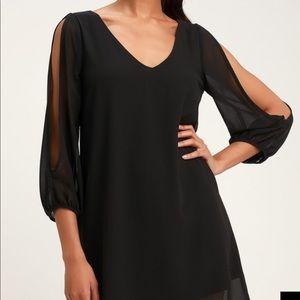 💙 Lulu's SHIFTING DEARS BLACK LONG SLEEVE DRESS